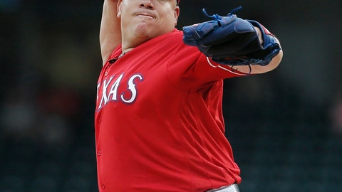 <p>               Texas Rangers starting pitcher Bartolo Colon (40) throws during the first inning of a baseball game against the Arizona Diamondbacks, Monday, Aug. 13, 2018, in Arlington, Texas. (AP Photo/Brandon Wade)             </p>