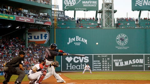 <p>               Cleveland Indians' Edwin Encarnacion hits a two-run home run against the Boston Red Sox during the first inning of a baseball game Wednesday, Aug. 22, 2018, in Boston. (AP Photo/Winslow Townson)             </p>