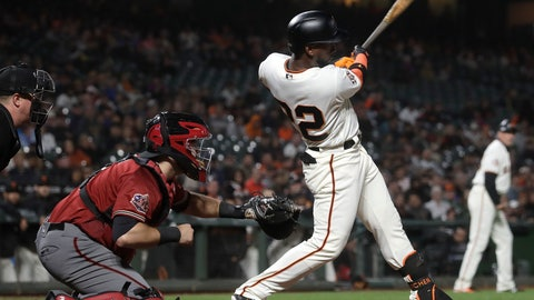 <p>               San Francisco Giants' Andrew McCutchen follows through on an RBI-single in front of Arizona Diamondbacks catcher Alex Avila during the eighth inning of a baseball game in San Francisco, Wednesday, Aug. 29, 2018. (AP Photo/Jeff Chiu)             </p>