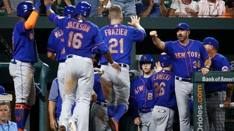 <p>               New York Mets manager Mickey Callaway, right, greets Todd Frazier (21) after Frazier scored on Kevin Plawecki's grand slam during the sixth inning of a baseball game against the Baltimore Orioles, Wednesday, Aug. 15, 2018, in Baltimore. (AP Photo/Patrick Semansky)             </p>