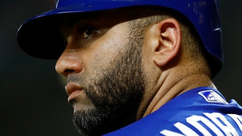 <p>               Toronto Blue Jays' Kendrys Morales prepares for an at-bat in the sixth inning of a baseball game against the Baltimore Orioles, Monday, Aug. 27, 2018, in Baltimore. After hitting home runs in seven straight games, Morales came up one short of the major league record as he went hitless Monday. (AP Photo/Patrick Semansky)             </p>
