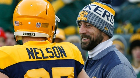 <p>               FILE - In this Nov. 19, 2017, file photo, Green Bay Packers' Aaron Rodgers talks to Jordy Nelson before an NFL football game against the Baltimore Ravens, in Green Bay, Wis. The departure of receiver Jordy Nelson has left Rodgers in need of a new partner to take part in one of his pregame routines. In the end zone before a game would be Rodgers and Nelson playing catch and spinning footballs on their fingertips. That won't happen Friday night now that Nelson is a Raider, though they remain good friends. (AP Photo/Mike Roemer)             </p>
