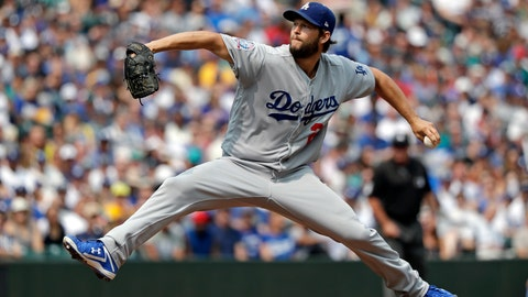 <p>               Los Angeles Dodgers starting pitcher Clayton Kershaw throws against the Seattle Mariners in the first inning of a baseball game Sunday, Aug. 19, 2018, in Seattle. (AP Photo/Elaine Thompson)             </p>