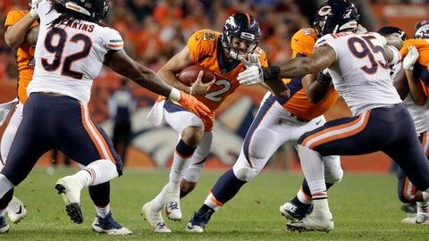 <p>               Denver Broncos quarterback Paxton Lynch (12) is sacked by Chicago Bears defensive end Roy Robertson-Harris (95) and defensive tackle John Jenkins (92) during the second half of a preseason NFL football game, Saturday, Aug. 18, 2018, in Denver. (AP Photo/Jack Dempsey)             </p>