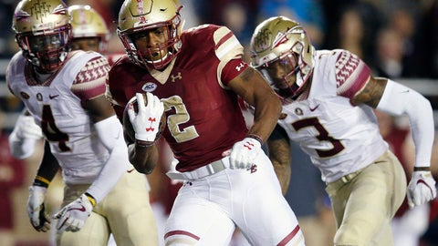 <p>               FILE - In this Oct. 27, 2017 file photo, Boston College running back AJ Dillon, center, carries the ball during the first half of an NCAA college football game against Florida State in Boston. With Anthony Brown healthy at quarterback and AJ Dillon coming out of the backfield, Boston College thinks it can get out of the middle of the ACC this year. (AP Photo/Michael Dwyer, File)             </p>