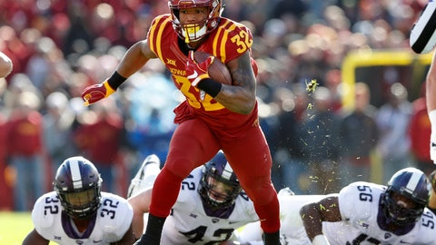 <p>               FILE - In this Oct. 28, 2017, file photo, Iowa State running back David Montgomery runs from TCU defenders Travin Howard (32), Ty Summers (42) and Chris Bradley (56) during the first half of an NCAA college football game, in Ames, Iowa. Iowa State is coming off its best season since it went 9-3 in 2000, and the Cyclones look like they could be even better in 2018. (AP Photo/Charlie Neibergall, File)             </p>