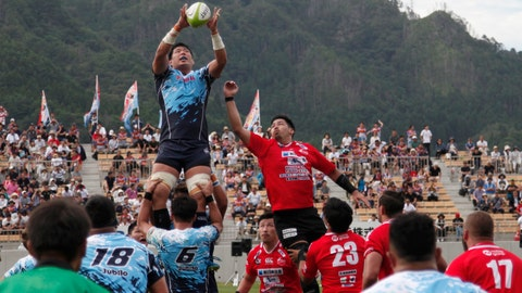 <p>               In this Sunday Aug. 19, 2018, photo, Yamaha Jubilo's Kuwano Eishin, top left, is lifted to receive a high ball during a memorial match against the Kamaishi Seawaves at Kamaishi Recovery Memorial Stadium in Kamaishi, northern Japan. Japan opened the new stadium Sunday for the 2019 Rugby World Cup on the site of a school that was destroyed by a devastating tsunami in 2011. The teams faced off in a memorial match in the small coastal city of Kamaishi to honor victims of the deadliest disaster in Japan's recent history. (AP Photo/Koji Ueda)             </p>