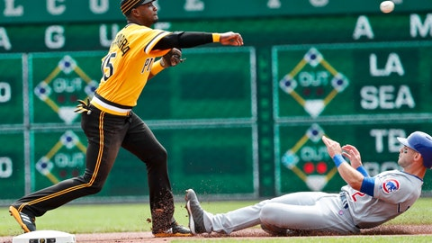 <p>               Pittsburgh Pirates shortstop Adeiny Hechavarria, left, relays on to to first after forcing Chicago Cubs' Tommy La Stella out at second to complete the double play on Ben Zobrist in the first inning of a baseball game, Sunday, Aug. 19, 2018, in Pittsburgh. (AP Photo/Keith Srakocic)             </p>