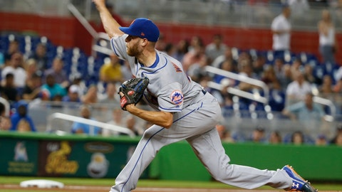 <p>               New York Mets' Zack Wheeler delivers a pitch during the fourth inning of a baseball game against the Miami Marlins, Friday, Aug. 10, 2018, in Miami. (AP Photo/Wilfredo Lee)             </p>