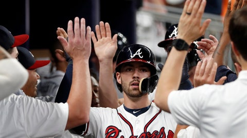 <p>               Atlanta Braves' Dansby Swanson is congratulated in the dugout after hitting a two-run home run during the fourth inning against the Miami Marlins in a baseball game Wednesday, Aug. 15, 2018, in Atlanta. (AP Photo/John Bazemore)             </p>