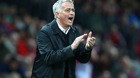 <p>               Manchester United manager Jose Mourinho shouts out from the touchline during the English Premier League soccer match between Manchester United and Tottenham Hotspur at Old Trafford stadium in Manchester, England, Monday, Aug. 27, 2018. (AP Photo/Dave Thompson)             </p>
