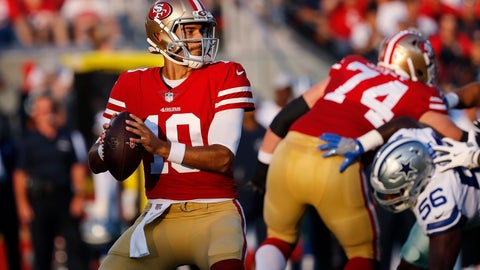 <p>               FILE - In this Aug. 9, 2018, file photo, San Francisco 49ers quarterback Jimmy Garoppolo looks for a receiver during the team's NFL preseason football game against the Dallas Cowboys in Santa Clara, Calif. The Niners acquired Garoppolo before the trade deadline from New England. After a few weeks to learn the offense, Garoppolo stepped in and showed why the Patriots had groomed him as Tom Brady's successor. (AP Photo/Josie Lepe, File)             </p>