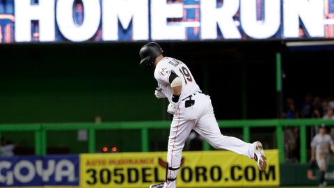 <p>               Miami Marlins' Miguel Rojas runs the bases after hitting a three-run home run during the sixth inning against the New York Yankees in a baseball game Wednesday, Aug. 22, 2018, in Miami. (AP Photo/Lynne Sladky)             </p>