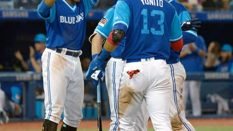<p>               Toronto Blue Jays' Curtis Granderson, left to right, Lourdes Gurriel Jr and Danny Jansen celebrate teammate Aledmys Diaz's three run double against the Philadelphia Phillies during the eighth inning of a baseball game, Saturday, Aug. 25, 2018 in Toronto. (Jon Blacker/The Canadian Press via AP)             </p>