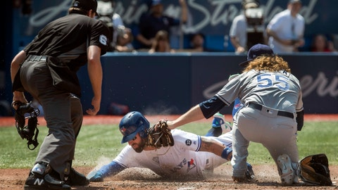 <p>               Home plate umpire Ryan Additon, left, watches Toronto Blue Jays' Kevin Pillar, center, slides safely into home plate as Tampa Bay Rays pitcher Ryne Stanek, right, tries to make the tag in the sixth inning of a baseball game in Toronto, Sunday, Aug. 12, 2018. (Fred Thornhill/The Canadian Press via AP)             </p>