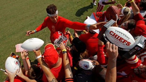 <p>               Kansas City Chiefs quarterback Patrick Mahomes gives autographs at NFL football training camp Sunday, Aug. 5, 2018, in St. Joseph, Mo. (AP Photo/Charlie Riedel)             </p>