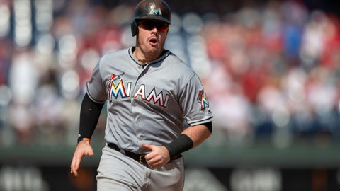 <p>               Miami Marlins' Justin Bour runs the bases after hitting a home run in the seventh inning of a baseball game against the Philadelphia Phillies, Sunday, Aug. 5, 2018, in Philadelphia. The Phillies won 5-3. (AP Photo/Laurence Kesterson)             </p>