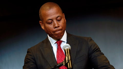 "<p>               Maryland athletic director Damon Evans pauses as he speaks at a press conference held Tuesday, Aug. 14, 2018, to address the school's football program and the death of offensive lineman Jordan McNair, who collapsed on a practice field and subsequently died, in College Park, Md. Athletic director Damon Evans said Tuesday that  ""mistakes were made"" in the treatment of McNair after he fell ill during a conditioning drill.   (AP Photo/Patrick Semansky)             </p>"