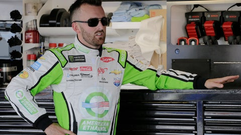 <p>               Austin Dillon leans on a tool box in the garage before a NASCAR Cup Series auto racing practice session at Darlington Raceway, Friday, Aug. 31, 2018, in Darlington, S.C. (AP Photo/Terry Renna)             </p>