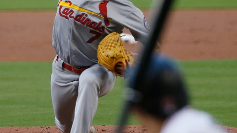 <p>               St. Louis Cardinals' Luke Weaver pitches to Miami Marlins' Derek Dietrich during the first inning of a baseball game, Monday, Aug. 6, 2018, in Miami. (AP Photo/Wilfredo Lee)             </p>