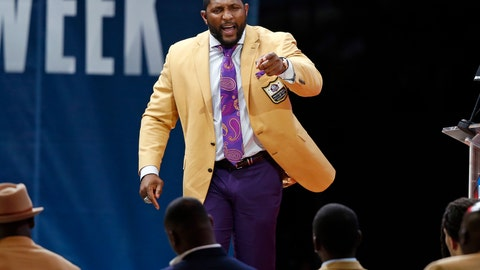 <p>               Former NFL player Ray Lewis delivers his speech during an induction ceremony at the Pro Football Hall of Fame, Saturday, Aug. 4, 2018, in Canton, Ohio. (AP Photo/Ron Schwane)             </p>