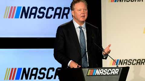 <p>               FILE - In this Jan. 23, 2017, file photo, Brian France, Chairman of NASCAR, gives opening remarks prior to an announcement of NASCAR's approach to modernizing its series with a new format, in Charlotte, N.C. NASCAR chairman Brian France has been arrested in New York's Hamptons for driving while intoxicated and criminal possession of oxycodone. France was arrested at 7:30 p.m. Sunday, Aug. 5, 2018, and held overnight. He was arraigned Monday at Sag Harbor Village Justice Court and released. (Jeff Siner/The Charlotte Observer via AP, File)             </p>