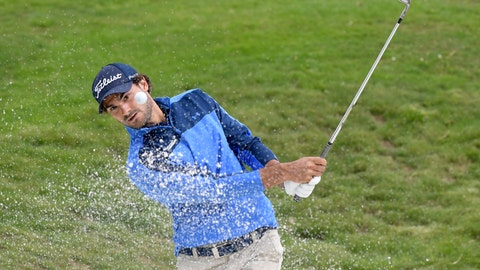 <p>               Clement Sordet of France watches his bunker shot on 18th hole during the first round of Nordea Masters at Hills Golf Club, Gothenburg, Sweden, Thursday Aug. 16, 2018. (Anders Wiklund/TT via AP)             </p>