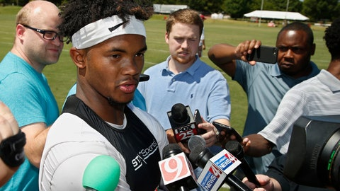<p>               FILE - In this Tuesday, Aug. 7, 2018, file photo, Oklahoma quarterback Kyler Murray talks with the media following an NCAA college football practice in Norman, Okla. The first-round Major League Baseball draft pick has signed for nearly $5 million to play for the Oakland Athletics. Yet, he's fully committed to football for one year, and if he can beat out Austin Kendall for the starting job, the speedster could be one of college football's most electrifying players.  (AP Photo/Sue Ogrocki, File)             </p>