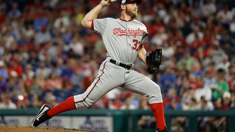 <p>               Washington Nationals' Stephen Strasburg pitches during the third inning of a baseball game against the Philadelphia Phillies, Monday, Aug. 27, 2018, in Philadelphia. (AP Photo/Matt Slocum)             </p>