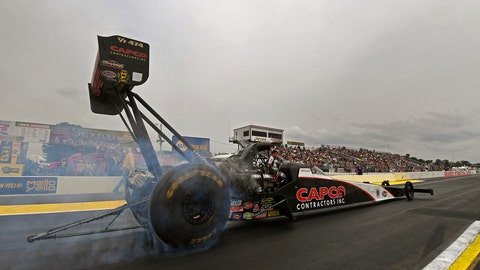 <p>               In this photo provided by the NHRA, Billy Torrence drive to his first career Top Fuel victory at the annual Lucas Oil NHRA Nationals at Brainerd International Raceway in Brainerd, Minn., Sunday, Aug. 19, 2018. (Marc Gewertz/NHRA via AP)             </p>