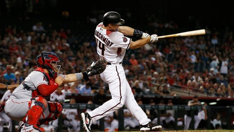 <p>               Arizona Diamondbacks' Paul Goldschmidt follows through on a two-run home run in front of Los Angeles Angels catcher Rene Rivera during during the first inning of a baseball game Wednesday, Aug. 22, 2018, in Phoenix. (AP Photo/Ross D. Franklin)             </p>