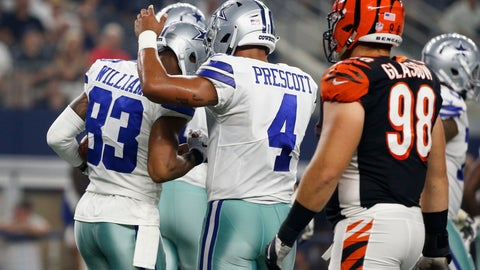 <p>               Dallas Cowboys quarterback Dak Prescott (4) and wide receiver Terrance Williams (83) celebrate after they connected on a pass for a touchdown against the Cincinnati Bengals during the first half of a preseason NFL football game in Arlington, Texas, Saturday, Aug. 18, 2018. (AP Photo/Michael Ainsworth)             </p>