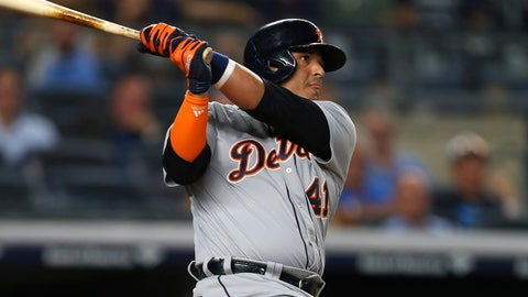 <p>               Detroit Tigers' Victor Martinez watches a two-run home run against the New York Yankees during the ninth inning during a baseball game Thursday, Aug. 30, 2018, at Yankee Stadium in New York. (AP Photo/Rich Schultz)             </p>