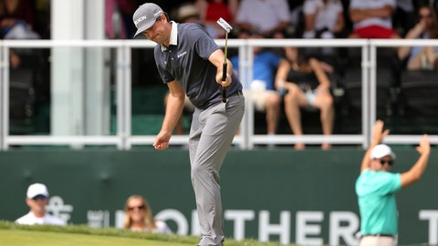 <p>               Keegan Bradley celebrates as he makes a putt on the 18th hole during the third round of the Northern Trust golf tournament, Saturday, Aug. 25, 2018, in Paramus, N.J. (AP Photo/Mel Evans)             </p>