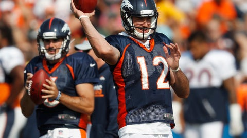 <p>               FILE - In this Tuesday, Aug. 7, 2018 file photo, Denver Broncos quarterback Paxton Lynch, front, takes part in drills as quarterback Chad Kelly waits his turn during NFL football training camp in Englewood, Colo. Chad Kelly might have a tenuous hold on the No. 2 quarterback job in Denver, and not because Paxton Lynch is making a push to regain the gig he lost this summer.(AP Photo/David Zalubowski, File)             </p>