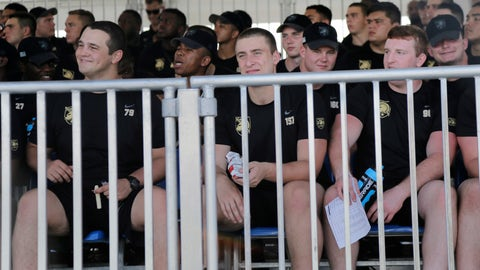 <p>               Members of the Army football team watch the New York Giants practice at the NFL football team's training camp in East Rutherford, N.J., Tuesday, Aug. 7, 2018. (AP Photo/Seth Wenig)             </p>