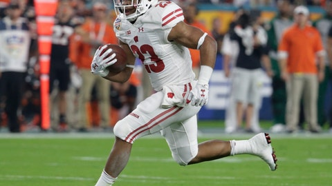 <p>               FILE - In this Dec. 30, 2017, file photo, Wisconsin running back Jonathan Taylor (23) runs the ball during the first half of the Orange Bowl NCAA college football game against Miami, in Miami Gardens, Fla. Running back Jonathan Taylor probably wouldn't be drawing hype as a Heisman Trophy candidate if not for the holes opened by the Badgers' offensive line during his record-setting freshman season. The line is tough, physical and agile in typical Wisconsin fashion, and all five starters are back.(AP Photo/Lynne Sladky, File)             </p>