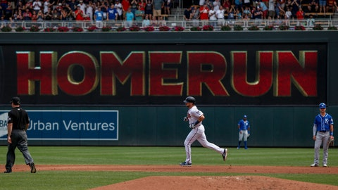 <p>               Minnesota Twins Jake Cave runs the bases on a grand slam past Kansas City Royals second baseman Whit Merrifield (15) in the second inning of a baseball game Sunday, Aug. 5, 2018, in Minneapolis. (AP Photo/Bruce Kluckhohn)             </p>