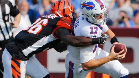 <p>               Buffalo Bills quarterback Josh Allen (17) is tackled by Cincinnati Bengals' Shawn Williams (36) during the first half of a preseason NFL football game Sunday, Aug. 26, 2018, in Orchard Park, N.Y. (AP Photo/Jeffrey T. Barnes)             </p>