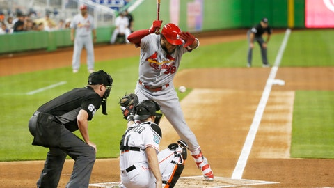 <p>               St. Louis Cardinals' Jose Martinez (38) reacts to a close pitch during the first inning of the team's baseball game against the Miami Marlins, Tuesday, Aug. 7, 2018, in Miami. (AP Photo/Wilfredo Lee)             </p>