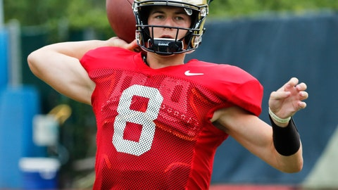 """<p>               FILE - In this Aug. 9, 2018, file photo, Pittsburgh quarterback Kenny Pickett (8) passes in a drill during an NCAA college football practice in Pittsburgh. Pittsburgh head coach Pat Narduzzi says sophomore quarterback Kenny Pickett doesn't have to think he's """"Kenny Perfect."""" Either way, Pickett will be the focal point for Pitt when the Panthers open the 2018 season on Saturday against Albany. (AP Photo/Keith Srakocic, File)             </p>"""