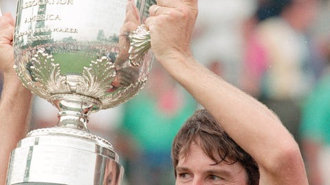 <p>               FILE - In this Aug. 15, 1993, file photo, Paul Azinger holds up the Wanamaker Trophy after winning the 75th PGA Championship in a sudden-death playoff against Greg Norman at Inverness Club in Toledo, Ohio. Azinger was diagnosed with cancer three months after winning his only major. (AP Photo/Rusty Kennedy)             </p>