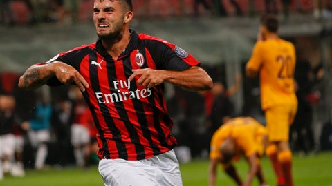 <p>               AC Milan's Patrick Cutrone celebrates after scoring his side's 2nd goal during the Serie A soccer match between AC Milan and Roma at the Milan San Siro Stadium, Italy, Friday, Aug. 31, 2018. AC Milan won 2-1. (AP Photo/Antonio Calanni)             </p>