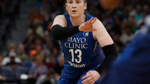 <p>               Minnesota Lynx's Lindsay Whalern (13) dishes to an open player during a WNBA basketball game against the Washington Mystics in Minneapolis, Sunday, Aug. 19, 2018. (Richard Tsong-Taatarii/Star Tribune via AP)             </p>