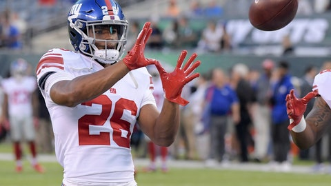 <p>               FILE - In this Aug. 24, 2018, file photo, New York Giants running back Saquon Barkley (26) warms up before the team's NFL preseason football game against the New York Jets in East Rutherford, N.J. Barkley, who has yet to take a snap in a real NFL game, has the best-selling jersey in the league. Barkley, the All-America running back from Penn State selected second overall in the draft by the Giants, is the leader according to DICK'S Sporting Goods Jersey Report. (AP Photo/Bill Kostroun, File)             </p>