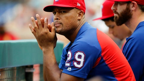 <p>               Texas Rangers' Adrian Beltre (29) watches at the team played against the Arizona Diamondbacks during the first inning of a baseball game Tuesday, August 14, 2018, in Arlington, Texas. Beltre injured his hamstring in last nights game. (AP Photo/Michael Ainsworth)             </p>