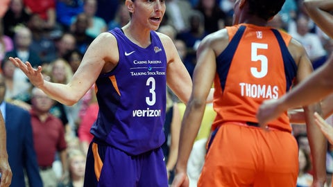 <p>               Connecticut Sun guard Jasmine Thomas (5) confronts Phoenix Mercury guard Diana Taurasi after being fouled during the first half of a single-elimination WNBA basketball playoff game Thursday, Aug. 23, 2018, in Uncasville, Conn. (Sean D. Elliot/The Day via AP)             </p>