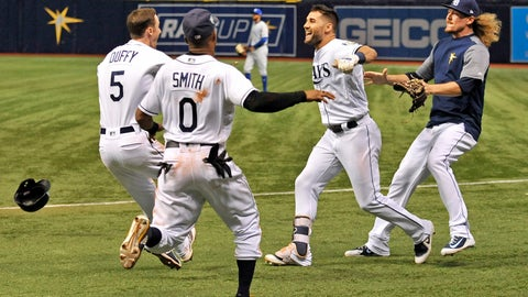 <p>               Tampa Bay Rays' Matt Duffy (5), Mallex Smith (0), Kevin Kiermaier and Ryne Stanek celebrate the team's 4-3 win over the Kansas City Royals during a baseball game Thursday, Aug. 23, 2018, in St. Petersburg, Fla. (AP Photo/Steve Nesius)             </p>