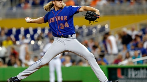 <p>               New York Mets starting pitcher Noah Syndergaard throws against the Miami Marlins in the fourth inning during their baseball game in Miami, Sunday, Aug. 12, 2018. (AP Photo/Joe Skipper)             </p>