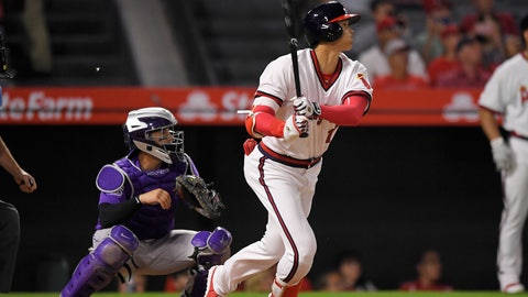 <p>               Los Angeles Angels' Shohei Ohtani, right, of Japan, hits a three-run home run as Colorado Rockies catcher Tony Wolters watches during the fourth inning of a baseball game Monday, Aug. 27, 2018, in Anaheim, Calif. (AP Photo/Mark J. Terrill)             </p>